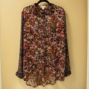 Band of Gypsies Sheer Floral Button Down
